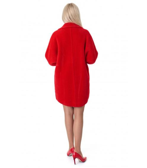 Кардиган-пальто жіноче червоного кольору на довгий рукав вище колін на гудзики