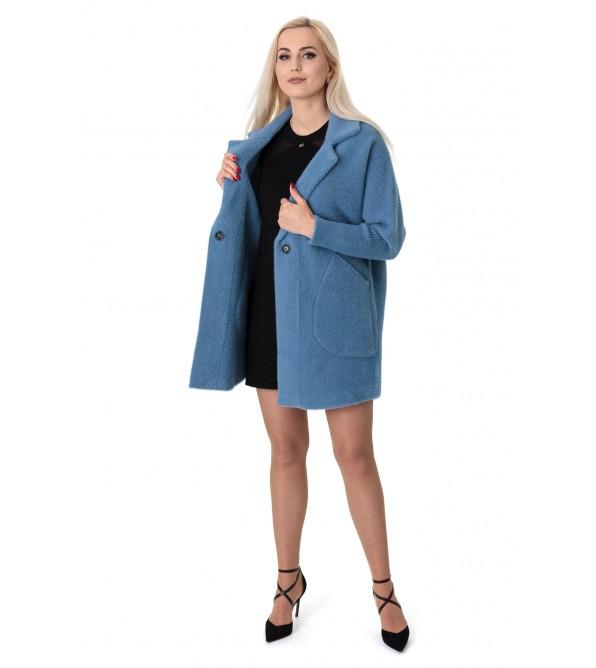 Кардиган-пальто жіноче синього  кольору на довгий рукав вище колін на гудзики