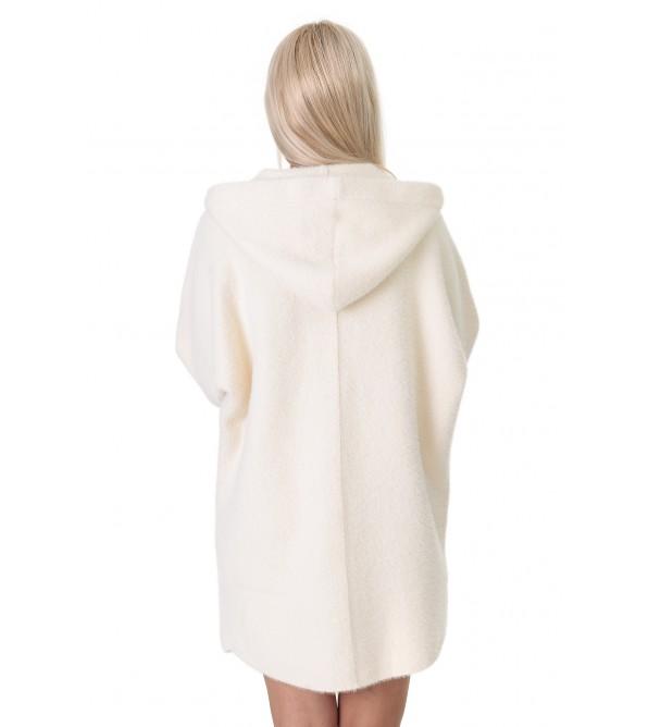 Кардиган-пальто жіноче молочного кольору на довгий рукав з капюшоном вище колін