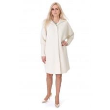 Платье-пальто женское молочного цвета с длинным рукавом с капюшоном до колен на пуговицы