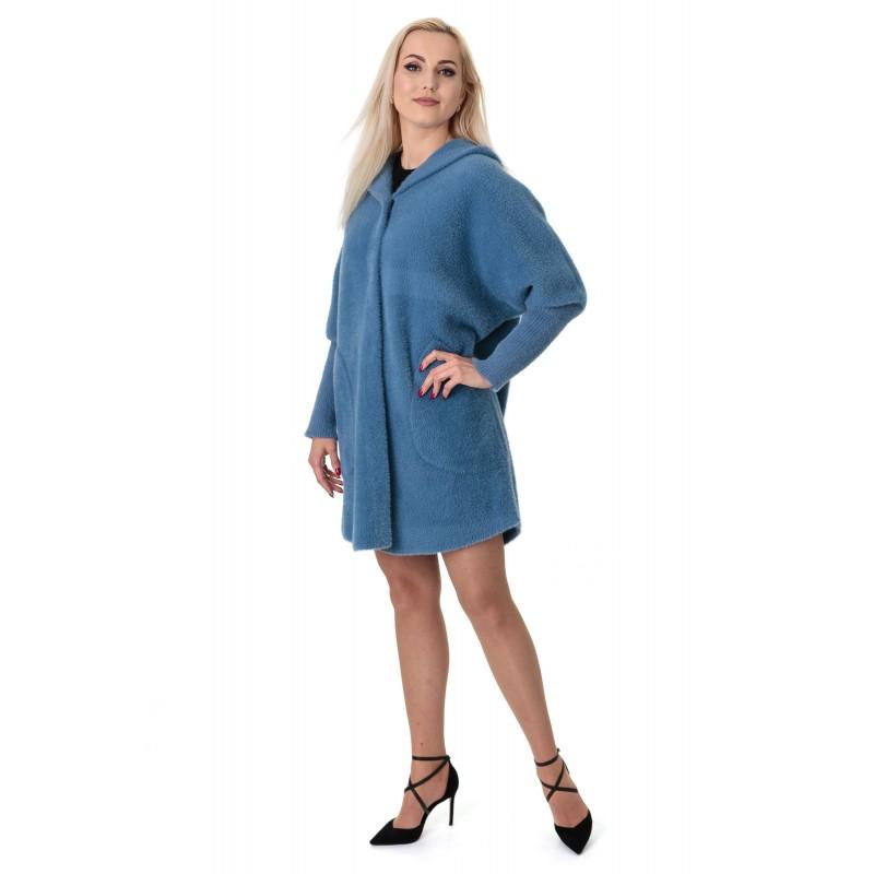 Кардиган-пальто жіноче синього кольору на довгий рукав з капюшоном вище колін