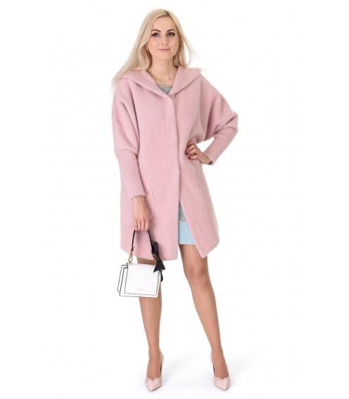 Кардиган-пальто жіноче пудрового кольору на довгий рукав з капюшоном вище колін