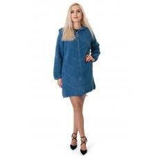 Кардиган женский голубой капюшон замок