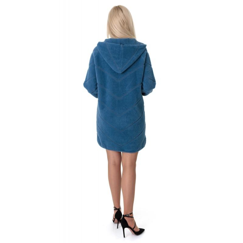 Кардиган-пальто жіноче синього кольору на довгий рукав з капюшоном вище колін на замок