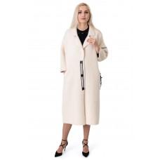 Платье-пальто женское молочного цвета три четверти рукав до колен самолетик
