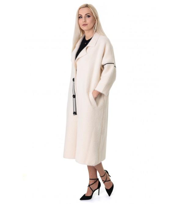 Кардиган-пальто жіноче молочного кольору три четверті рукав до колін літачок
