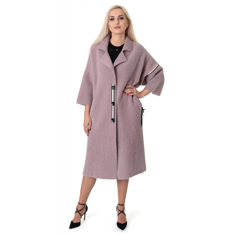 Кардиган-пальто жіноче бузкового кольору три четверті рукав до колін літачок