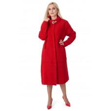Платье-пальто женское красного цвета на пуговицах с длинным рукавом до колен с брошью