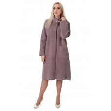 Кардиган-пальто жіноче кольору капучіно на гудзиках на довгий рукав до колін з брошкою