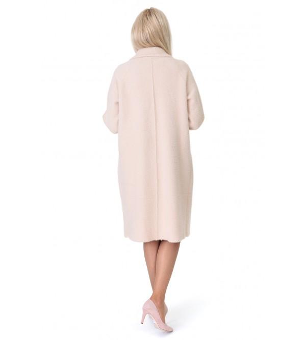 Кардиган-пальто жіноче молочного кольору на гудзиках на довгий рукав до колін з перлинками