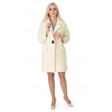 Платье-пальто женское лимонного цвета на пуговицах с длинным рукавом до колен