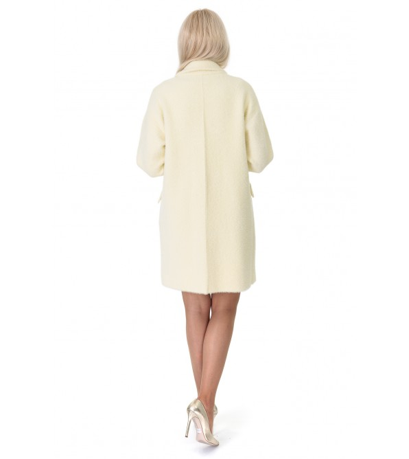 Кардиган-пальто жіноче лимонного кольору на гудзиках на довгий рукав до колін