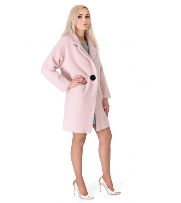 Кардиган-пальто жіноче пудрового кольору на гудзик на довгий рукав до колін