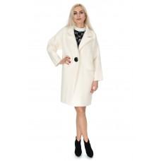 Платье-пальто женское молочного цвета на пуговицу с длинным рукавом до колен