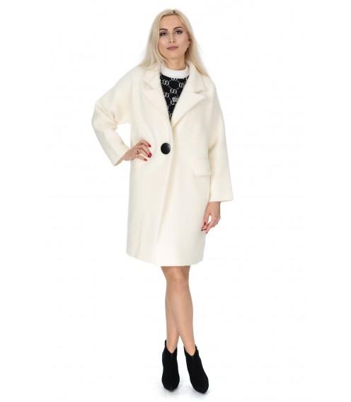 Кардиган-пальто жіноче молочного кольору на гудзик на довгий рукав до колін