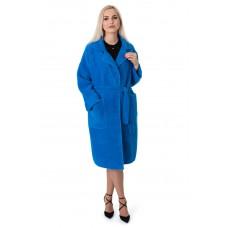 Кардиган женский синего цвета с поясом на длинный рукав до колена