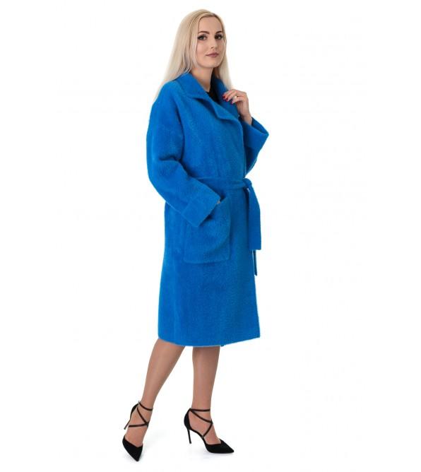 Кардиган жіночий синього кольору з поясом на довгий рукав до коліна