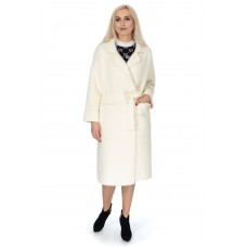 Кардиган-пальто жіноче молочне з поясом на довгий рукав до коліна