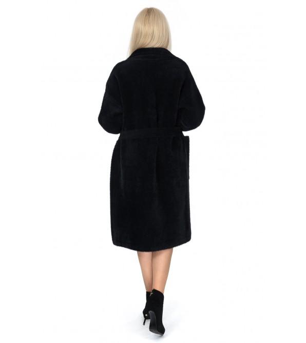 Кардиган-пальто жіноче чорне з поясом на довгий рукав до коліна