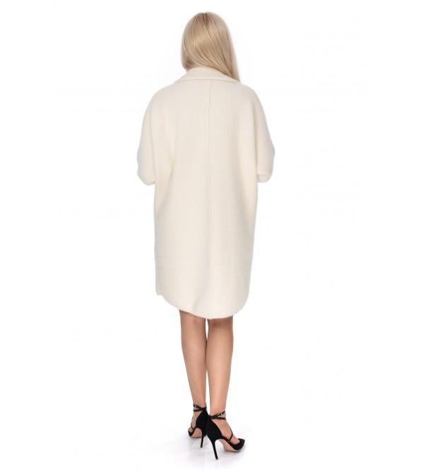 Кардиган жіночий молочний колір на довгий рукав до коліна