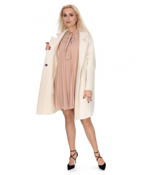 Кардиган-пальто жіноче молочний колір на довгий рукав до коліна