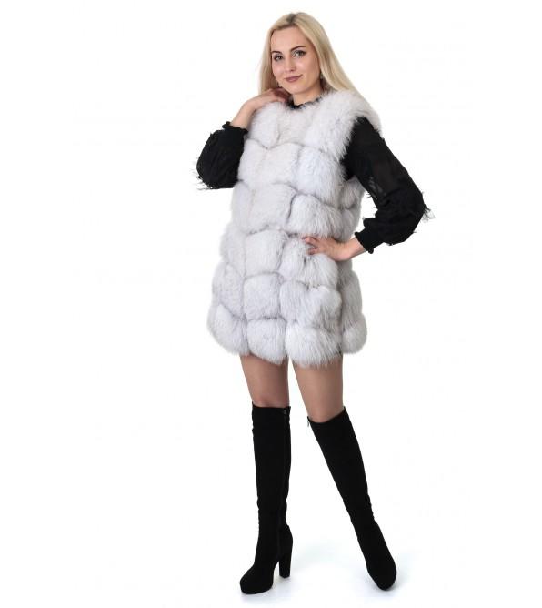 Жилетка жіноча біла з натурального хутра