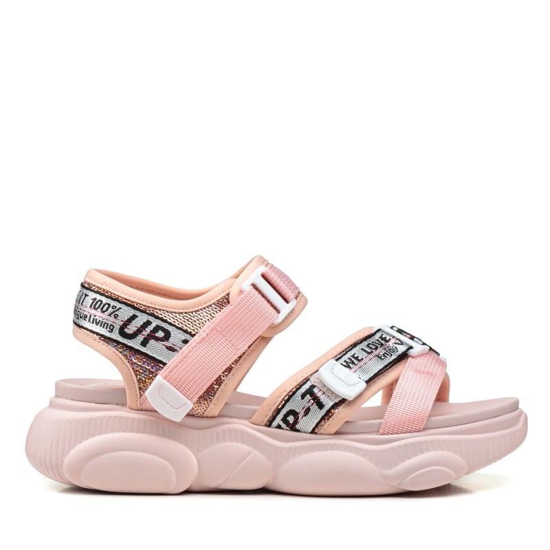 Босоніжки жіночі рожеві, на платформі, спортивні, на тракторній підошві GIFANNI
