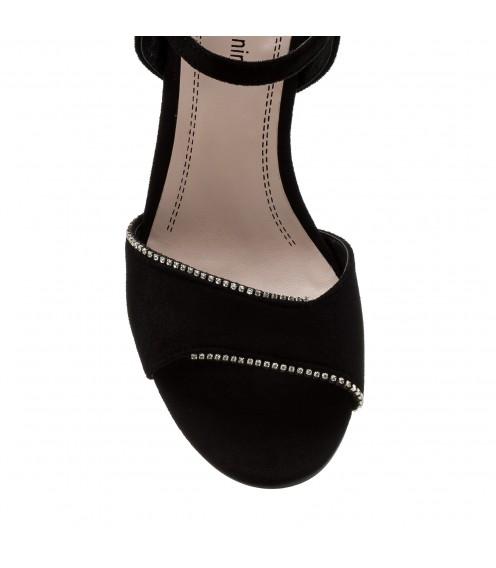 Босоніжки жіночі замшеві чорні на каблуці Stefaniya