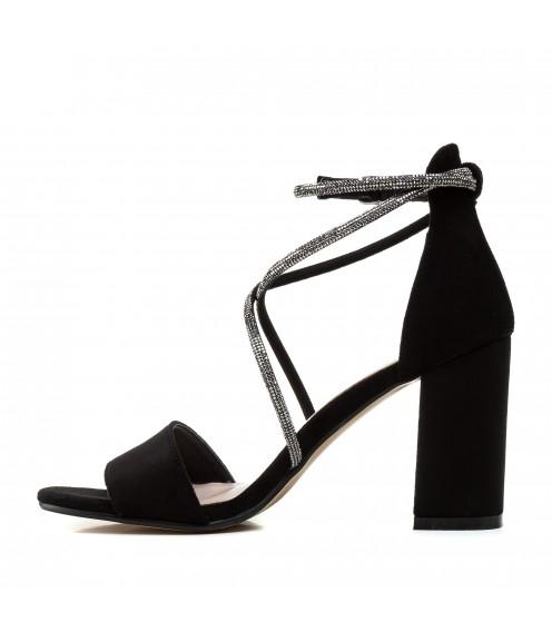 Босоніжки жіночі замшеві чорні на каблуці Stefaniya nina