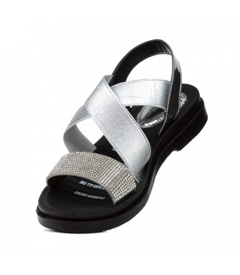 Босоніжки жіночі сріблясті, на низькому ходу,  шкіряні Pino dangio