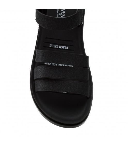 Босоніжки жіночі чорні, з блиском, на низькому ходу,  шкіряні Pino dangio