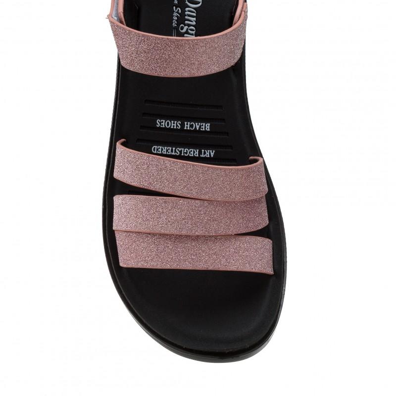 Босоніжки жіночі рожеві, з блиском, на низькому ходу,  шкіряні Pino dangio