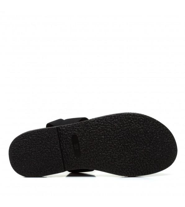 Босоніжки жіночі чорні, на низькому ходу,  шкіряні Pino dangio