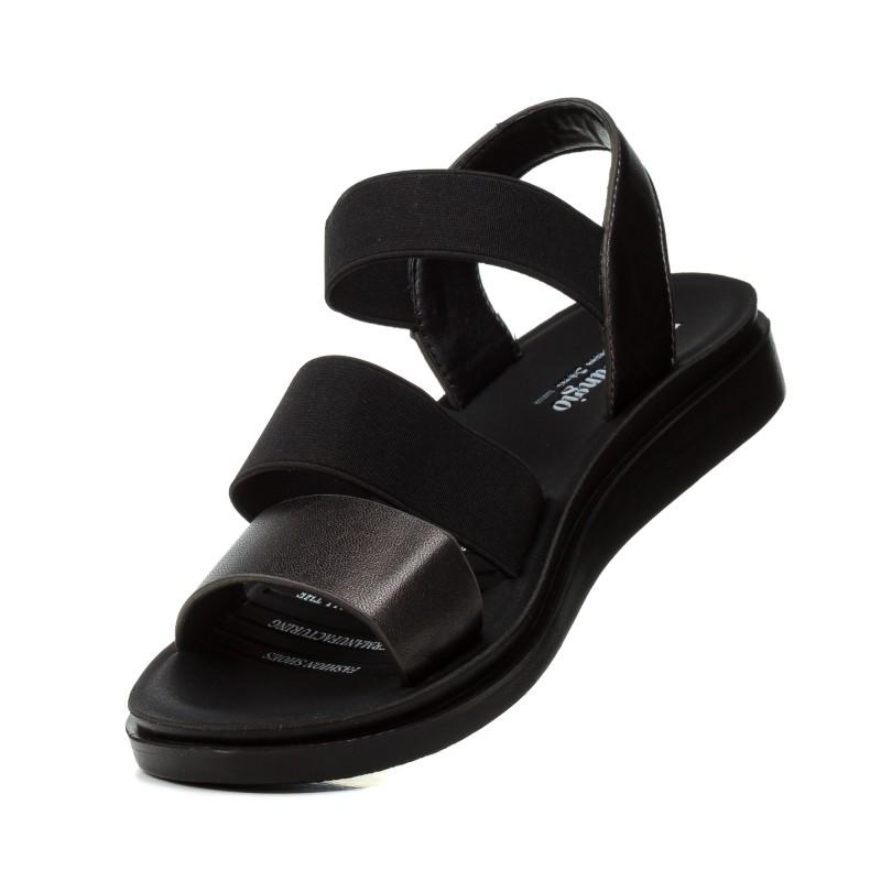Босоніжки жіночі шкіряні чорні на низькому ходу