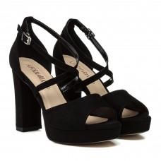 Босоножки женские замшевые, черные, на высоком каблуке Aiformaria