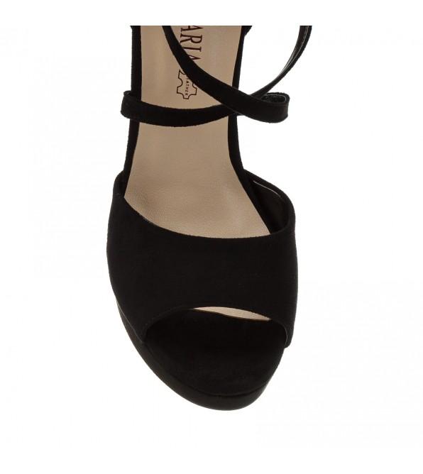 Босоніжки жіночі замшеві, чорні, на високому каблуці Aiformaria