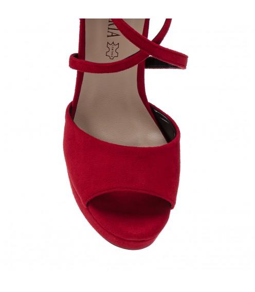 Босоніжки жіночі червоні, замшеві, на високому каблуці Aiformaria