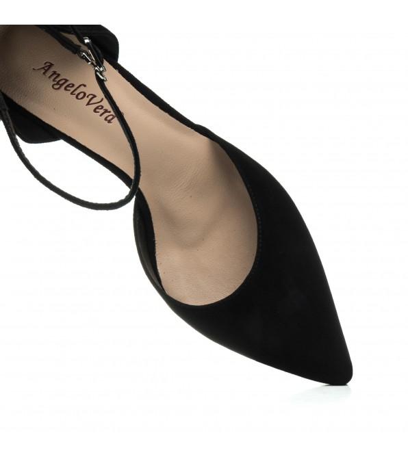 Босоніжки замшеві чорні на високому каблуку  Angelo Verа