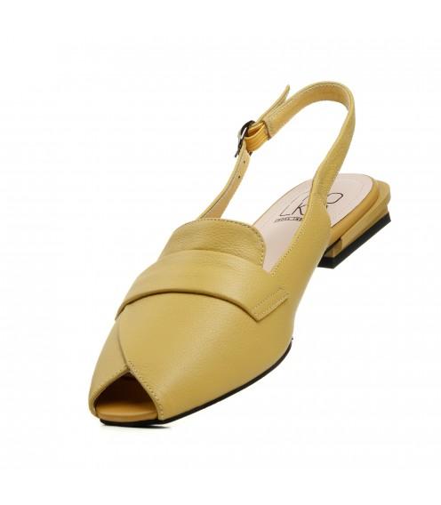Босоніжки жіночі шкіряні жовті Molka