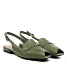 Босоножки женские зеленые кожаные Polann