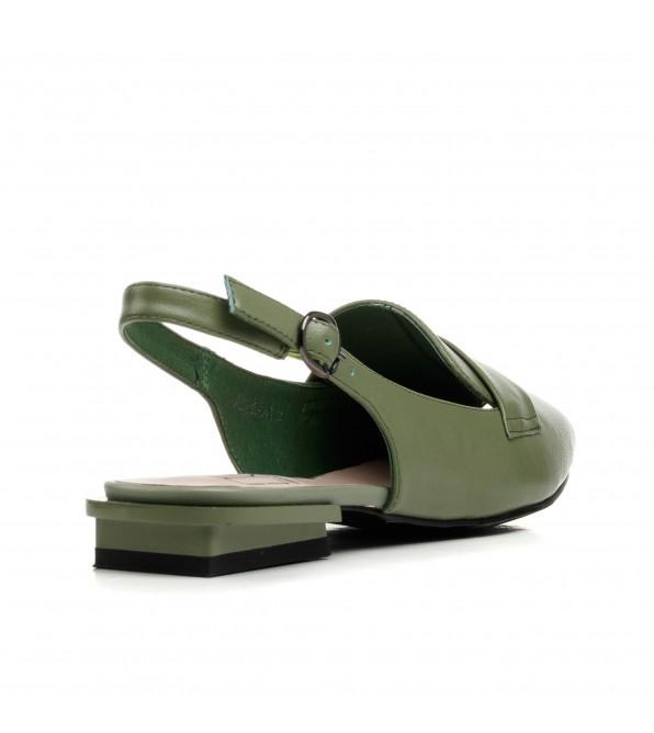 Босоніжки жіночі зелені шкіряні Molka
