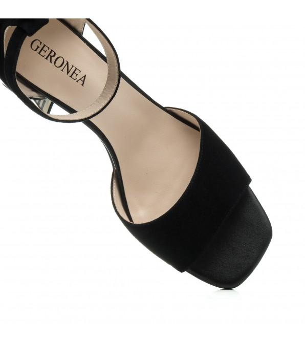 Босоніжки жіночі чорні замшеві на золотистому каблуці  Geronea