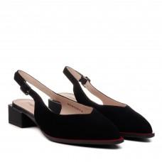 Босоножки женские замшевые черные с острым носком Lady marcia