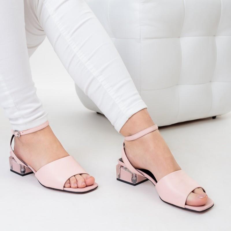 Босоніжки шкіряні рожеві Geronea