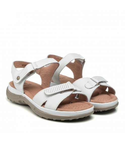 Босоніжки жіночі шкіряні білі без каблука Meegocomfort