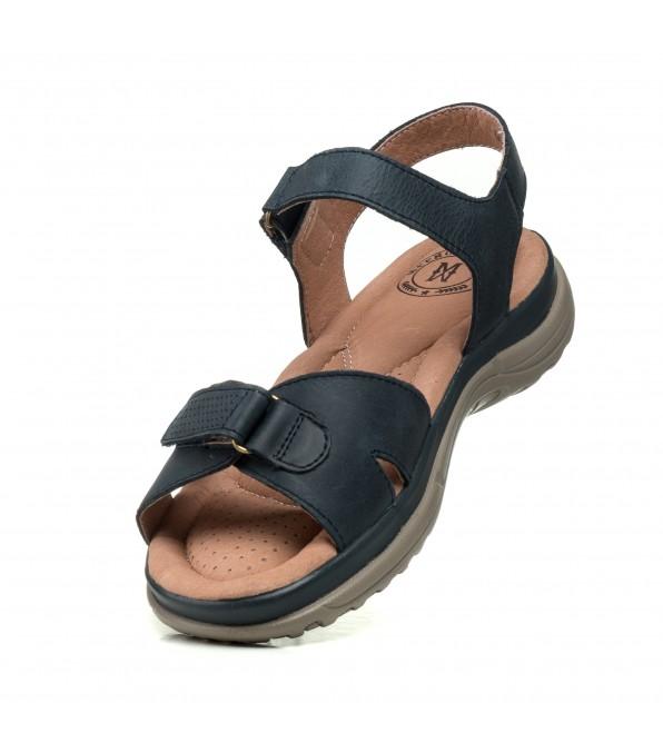 Босоніжки жіночі шкіряні сині без каблука  Meegocomfort