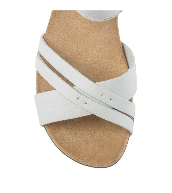 Сандалі жіночі шкіряні білі на низькому ходу Rieker
