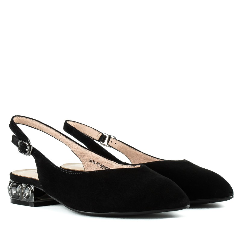 Босоніжки жіночі замшеві чорні на низькому каблуці Lady Marcia