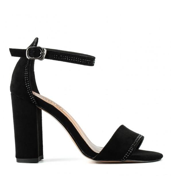 Босоножки женские замшевые черные на каблуке Aiformaria