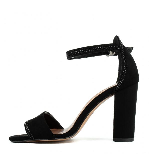Босоніжки жіночі замшеві чорні на каблуку Aiformaria